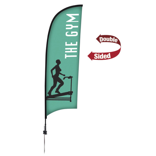 48-Hour Quick Ship 9' Premium Razor Sail Sign Kit – Double-Sided with Ground Spike