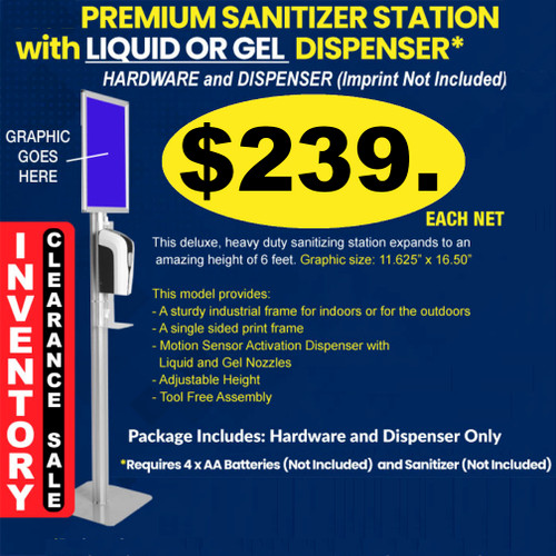Hand Sanitizer Station with Overhead Signage