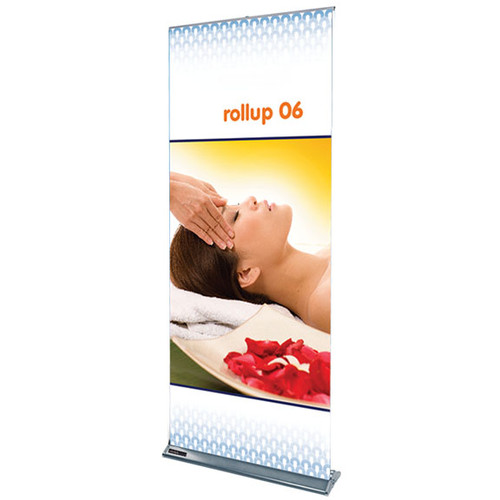 "Rollup 06 retractable banner stand 35.5""w x 83.75""h"