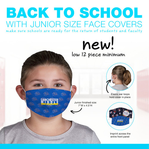 Imprinted Jr Face Cover with Elastic Ear Loops (Minimum order quantity of 12)