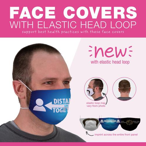 Imprinted Face Cover with Elastic Head Loop - Minimum order quantity of 2,500