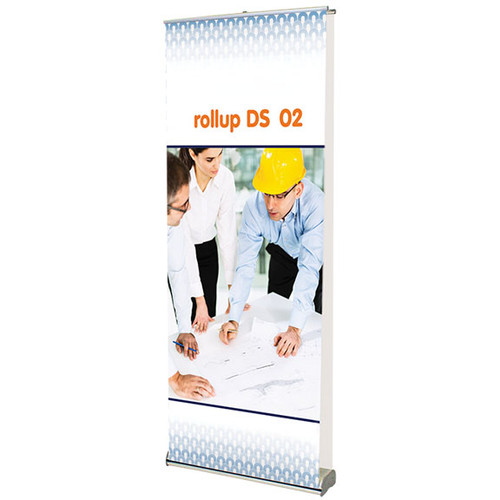 "rollup double sided 02 retractable banner stand 35.5""w x 83.75""h"