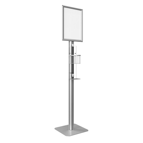 Hand Sanitizer Floor Stand Station‎ with Basket with Pole Mount and Overhead Sign