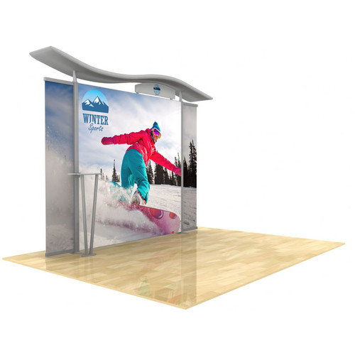 10ft Timberline Light Box Display w/ Wave Top & Straight Fabric Sides (TLB10-S)