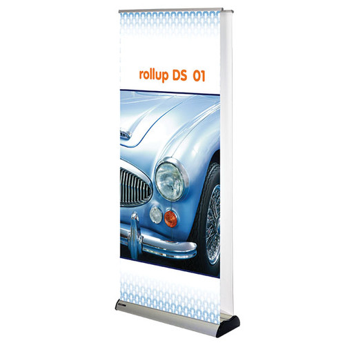 "Rollup double sided 01 retractable banner stand 31.5""w x 29""h up to 83""h"