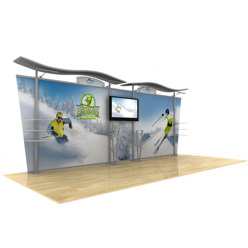 20ft Timberline Modular Display, Dye Sub Graphics, Wave Top & Tapered Fabric Sides (TL1002F-T20)
