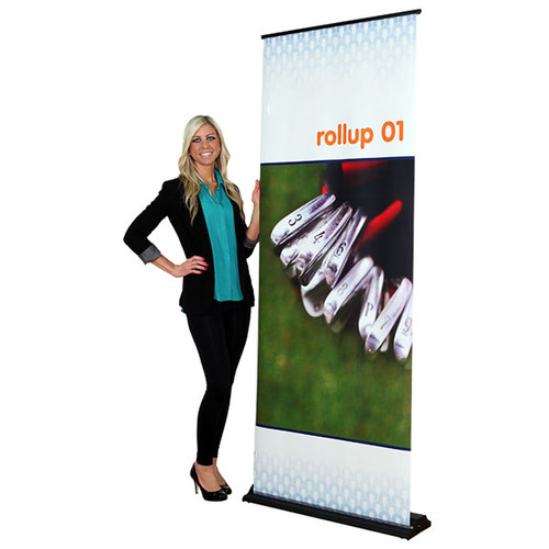 "Rollup 01 retractable banner stand 31.5""w x 83.75""h"