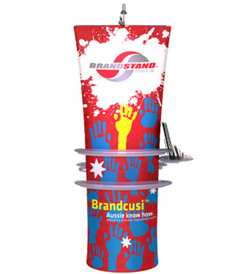 Brandcusi Straight Fabric Double-Sided Banner Stand with Shelve Kit