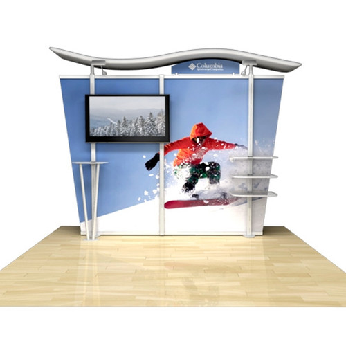 """10ft Timberline Monitor Display with Tapered Fabric Sides, Holds up to 50"""" Monitor (TL1002F-T-TV)"""