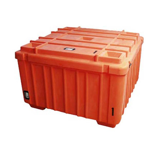 Large Orange Granite Roto-Molded Tub w/Wheels Shipping Case 4' X 4' X 2'
