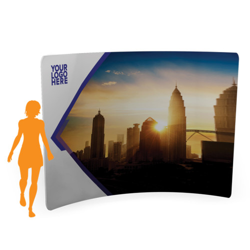 8'x 7.5′ Quick-N-Fit Tension Wall Curved- Single Sided Printing w/ Hardware