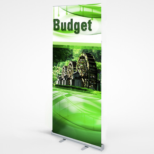 "Budget Retractable Banner stand 33"" x 79"" Hardware & Banner"
