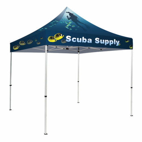 Deluxe 10' X 10' Event Tent Kit, Includes Frame, Dye Sub Canopy, tent stake kit and Soft Case