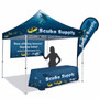 Deluxe 10' X 10' Event Tent Kit, Includes Frame, Dye Sub Canopy, tent stake kit, Soft Case, 8ft dye-sub table throw 3-sided, Medium teardrop flag 8.4ft & 4ft x 8ft single-sided vinyl banner
