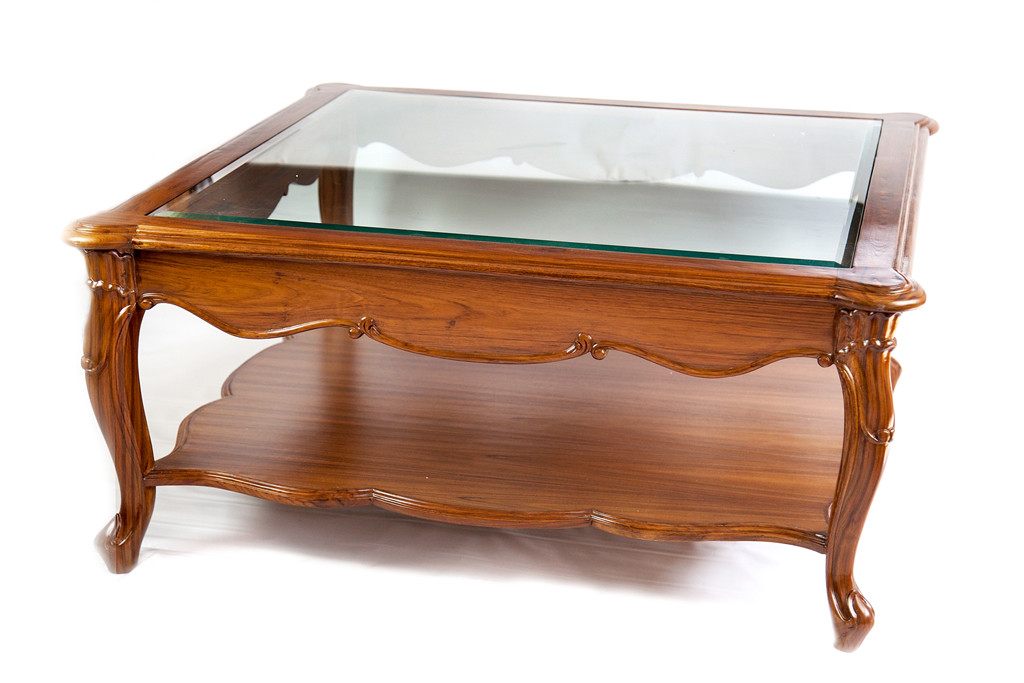 teak furniture glass top center coffee table