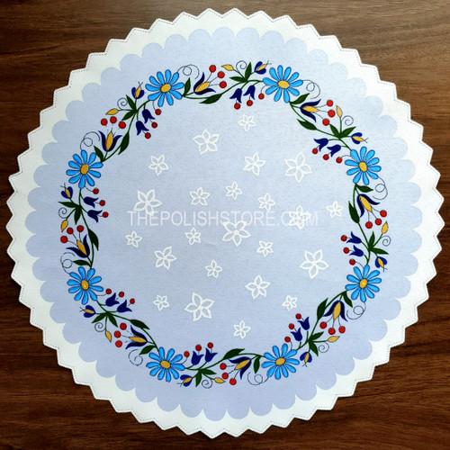 Polish Folk Floral Kaszuby Print Round Doily Placemat