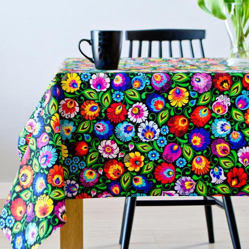 Polish Folk Tablecloth - Black (Lowicz)