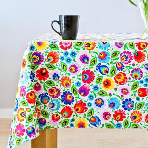 Polish Folk Tablecloth - White (Lowicz)