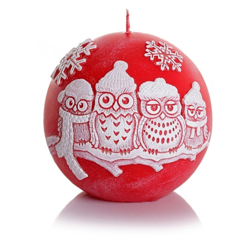 Christmas Decorative Candle - WINTER OWLS  BALL