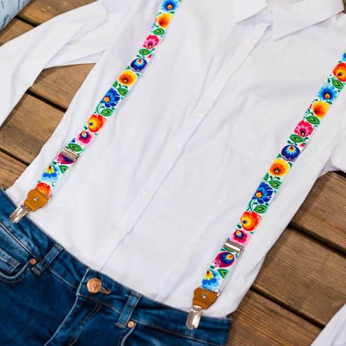 Polish Folk Trouser Suspenders - White (Lowicz)