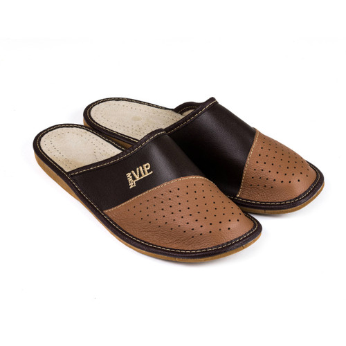 Men's Home Slippers  - Leather (Brown)