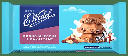 Wedel - Extra Milk Chocolate With Raisins, Peanuts & Hazelnuts, 100g