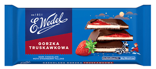 Wedel - Dark Chocolate With Strawberry Filling, 100g