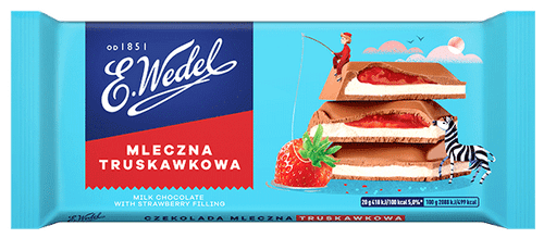 Wedel - Milk Chocolate With Strawberry Filling, 100g