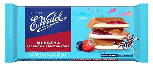Wedel - Milk Chocolate With Blueberry & Wild Strawberry Filling, 100g