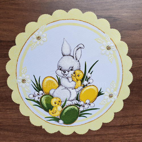 Baby Bunny Round Easter Basket Cover, Soft Yellow