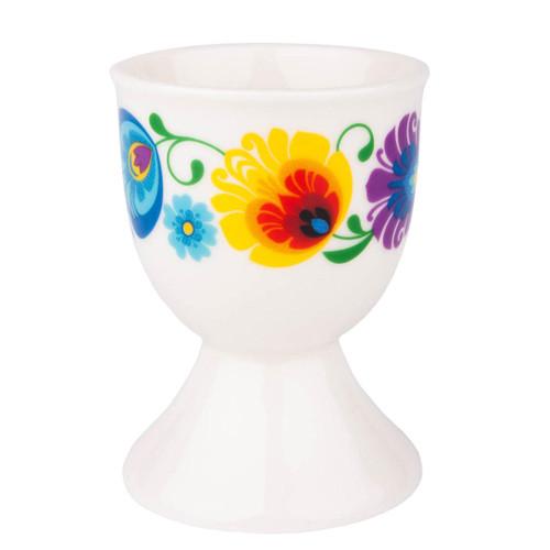 Polish Folk Egg Cup - White (Lowicz)