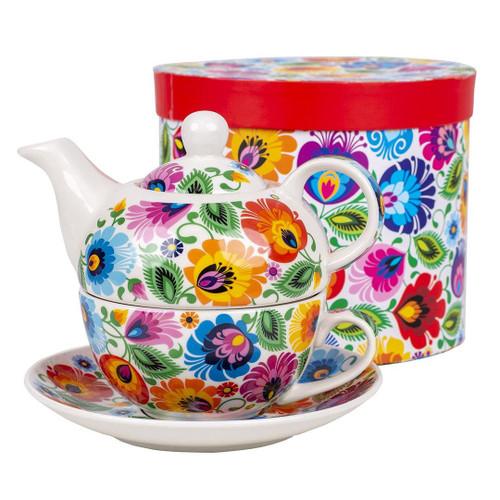 Polish Folk Halinka Tea Pot With Cup Set