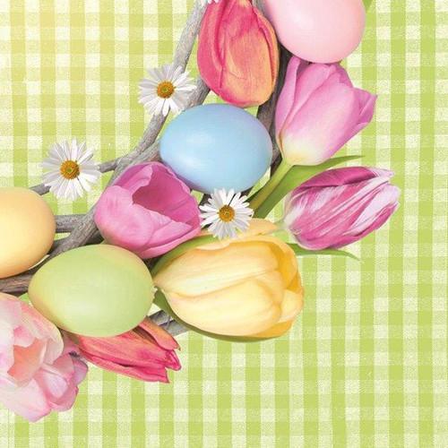 Tulips & Easter Eggs Green Paper Napkins