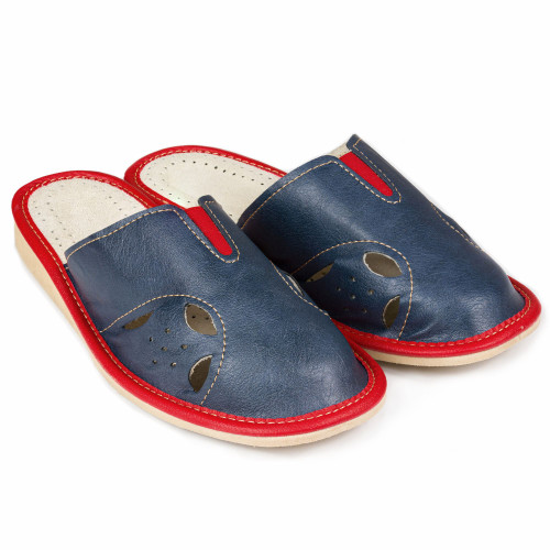 Women's Home Slippers - (Navy Red Cutouts)