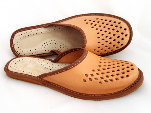 Men's Home Slippers  - Close Toe (Natural Leather)