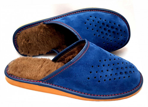 Men's Home Slippers  - Close Toe (Blue Suede)