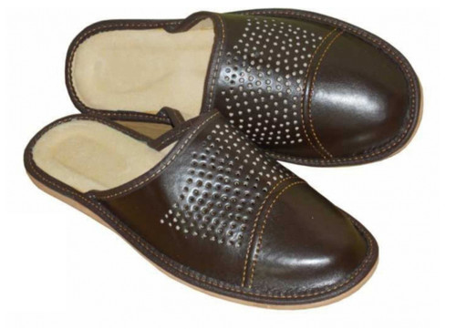 Men's Home Slippers  - Close Toe (Brown Leather)