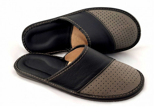 Men's Home Slippers  - Close Toe Leather (Taupe)