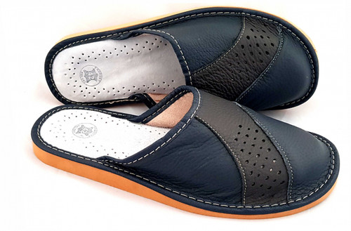 Men's Home Slippers  - Close Toe Leather (Dark Navy)