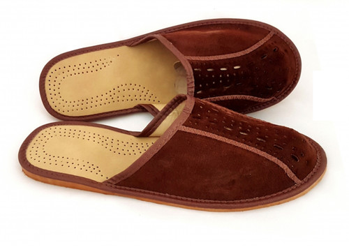 Men's Home Slippers  - Close Toe (Brown Suede)