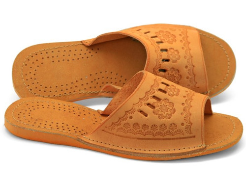 Women's Home Slippers - (Natural Leather)