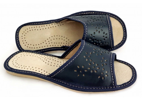 Women's Home Slippers - (Navy Leather)