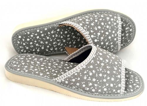 Women's Home Slippers - (Gray Flowers)