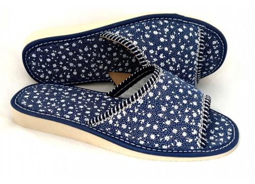 Women's Home Slippers - (Navy Flowers)