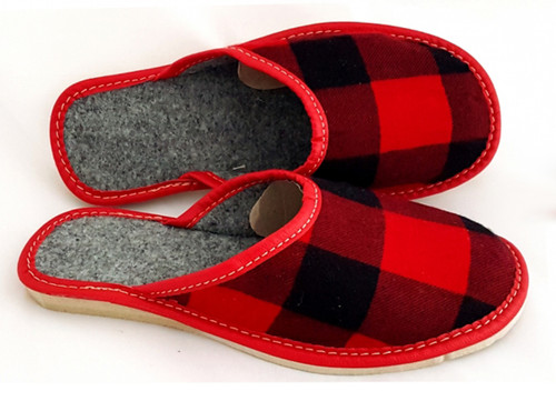 Women's Felt Home Slippers - (Red Buffalo Check)