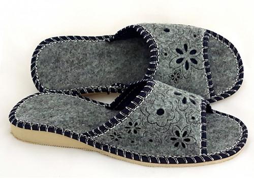 Women's Felt Home Slippers - Open Toe (Navy)