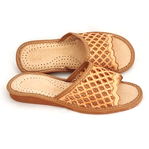 Women's Home Slippers -Open Toe (Leather)
