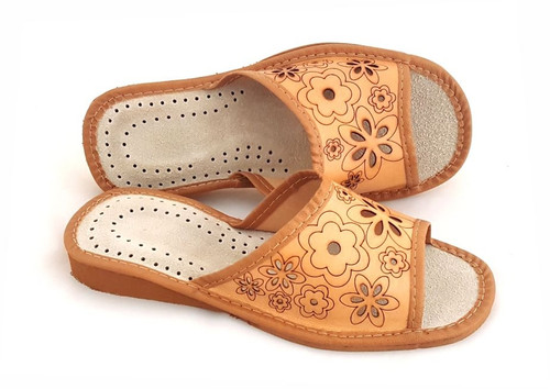 Women's Home Slippers -Open Toe (Floral Leather)