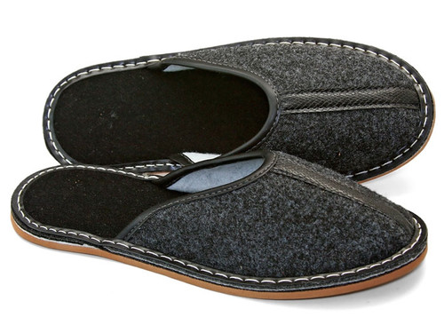 Men's Felt Home Slippers  - Close Toe (Charcoal)