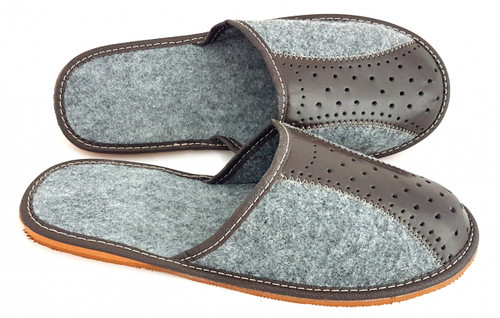 Men's Felt Home Slippers  - Close Toe (Gray)